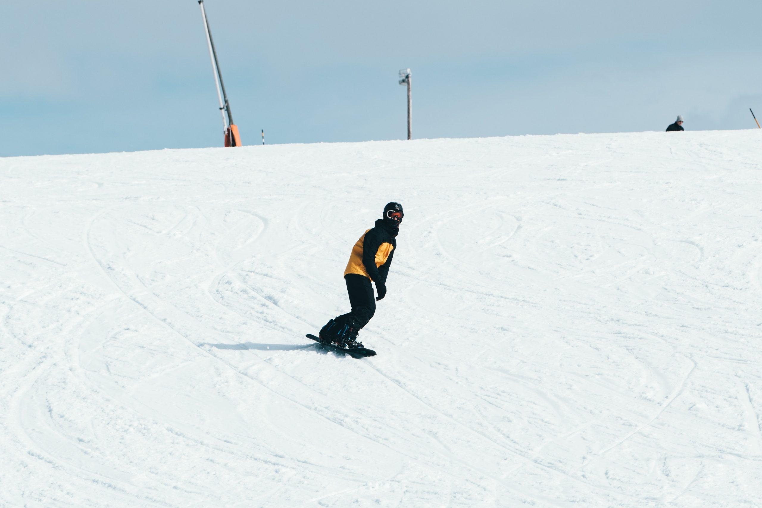 Snowboard Beginner on the Slope